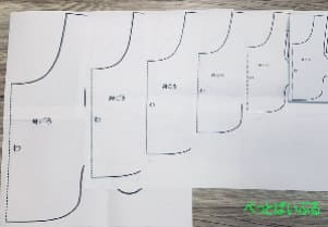 犬のレインコート型紙の拡大画像 見本
